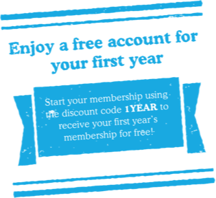 Enjoy a free account for your first year. Start your membership using the discount code 1YEAR to receive your first year's membership for free!