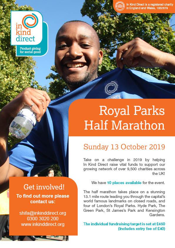 In Kind Direct Sports Fundraising Events 2019 - Royal Parks Half Marathon