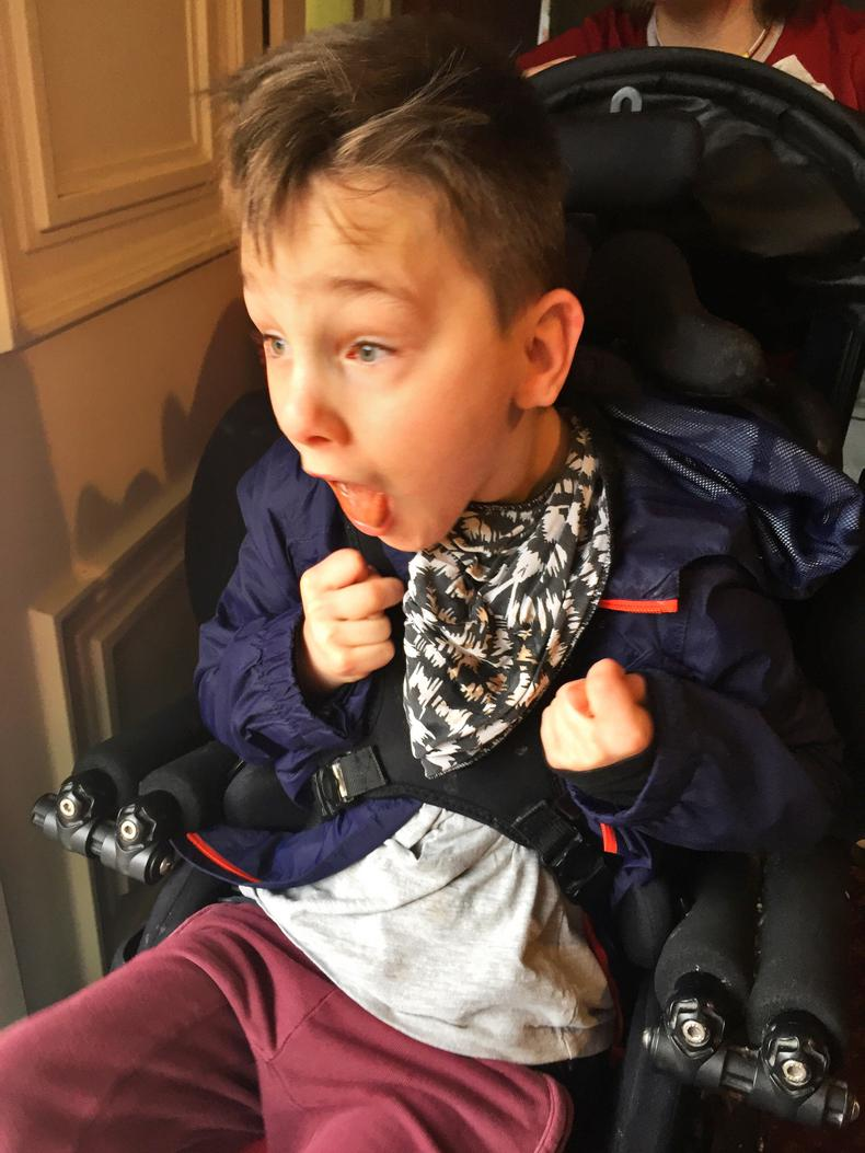 Harry sees his new Powered Wheelchair for the First Time
