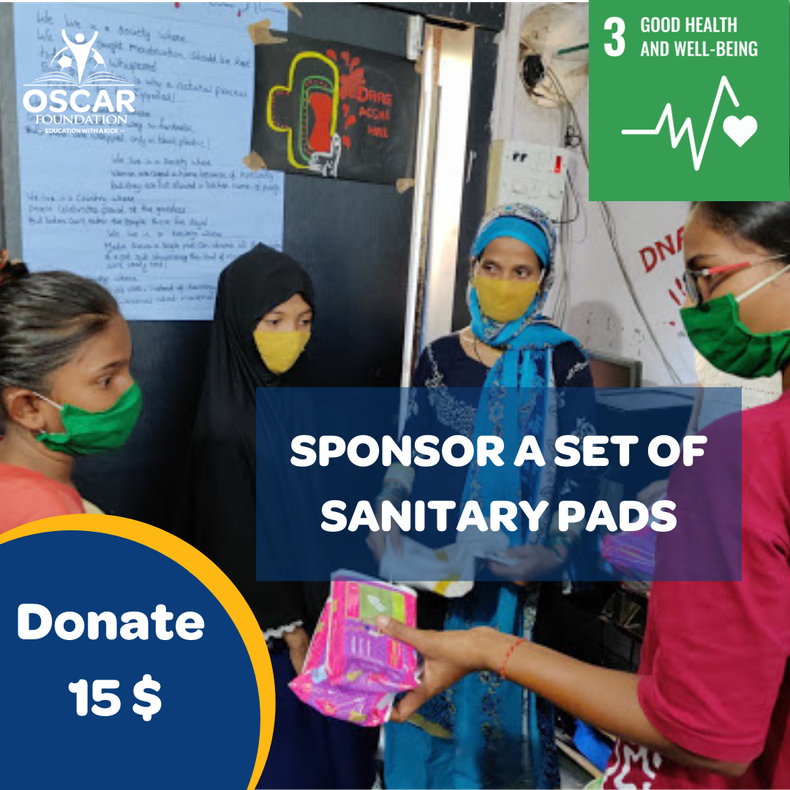 £11 provides a girl in India with sanitary pads for one year.