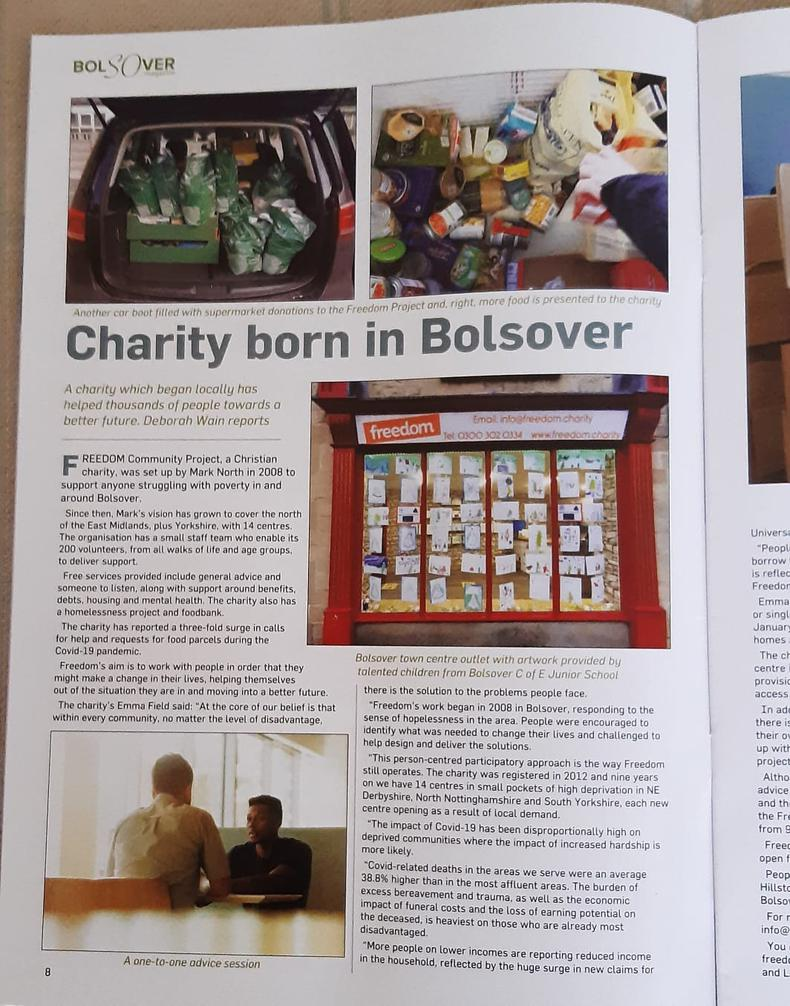 Article about Freedom in Bolsover Magazine
