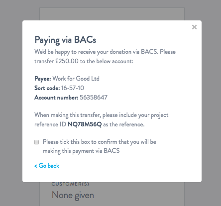 BACS: Another way to make donations