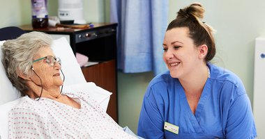 Leeds Hospitals Charity Nurse with a patient